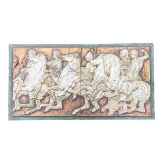 1950s Mid Century Greco Roman Relief Plaque For Sale
