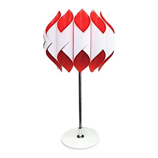 1960s Atelje Lyktan Red & White Table Lamp For Sale