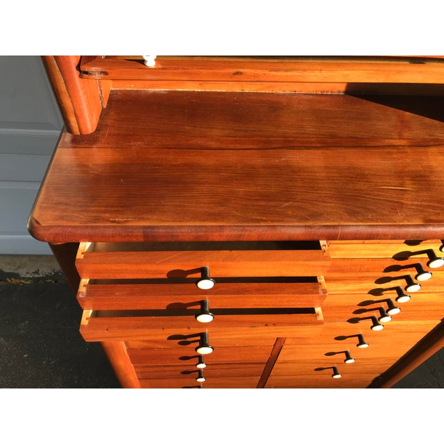 Early 20th Century Antique Art Deco Teak and Marble Dentist's Chest For Sale - Image 4 of 12