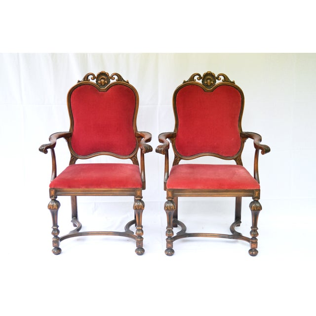 Bohemian Red Velvet Dining/Accent Chairs - A Pair - Image 2 of 7