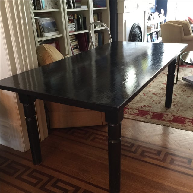 Black Lacquered Solid Oak Dining Table - Image 2 of 5