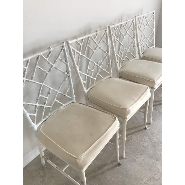 Chippendale Vintage Phyllis Morris Style Metal Faux Bamboo Chairs - Set of 4 For Sale - Image 3 of 8