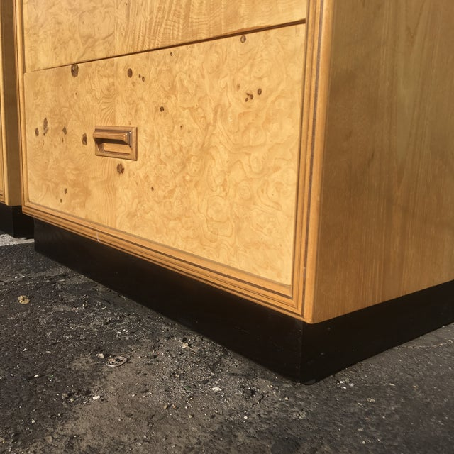 Burlwood Nightstands by Henredon-a Pair For Sale - Image 9 of 12