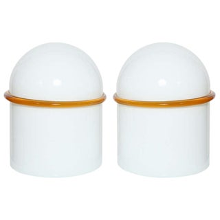 1970s Siv Murano White Glass Domed Table Lamps Trimmed in Orange Banded Glass - a Pair For Sale