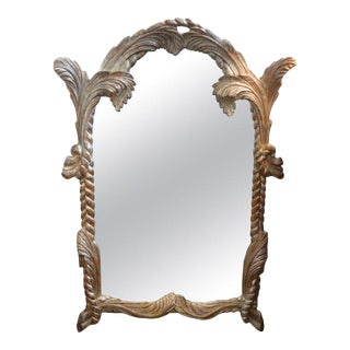Vintage Serge Roche Inspired Carved Wood Silver Gilt Palm Frond Mirror For Sale