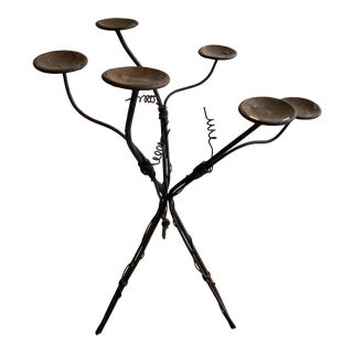 Large Boho Chic Metal Candelabra For Sale