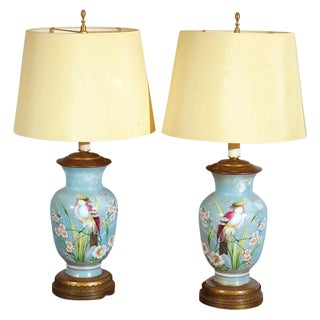 Hand Decorated Glass Table Lamps - A Pair For Sale
