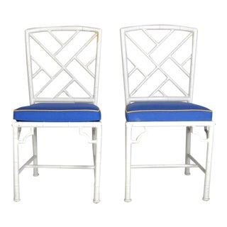 Chippendale White Accent Chairs - Pair