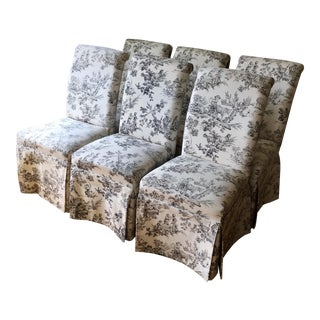 French Toile Parson Chairs - Set of 6 For Sale