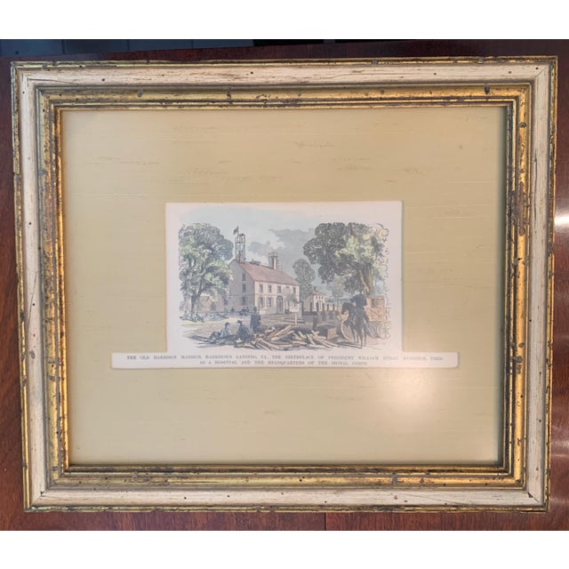 Beautiful hand-colored etching with custom framing and certificate of authenticity. Etching is of old Harrison mansion....
