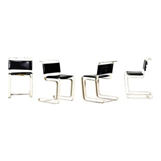 French Iron and Black Leather Chairs From the 1960s. For Sale