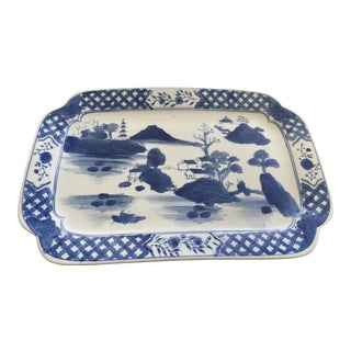 Mid 20th Century Blue and White Chinoiserie Tray For Sale