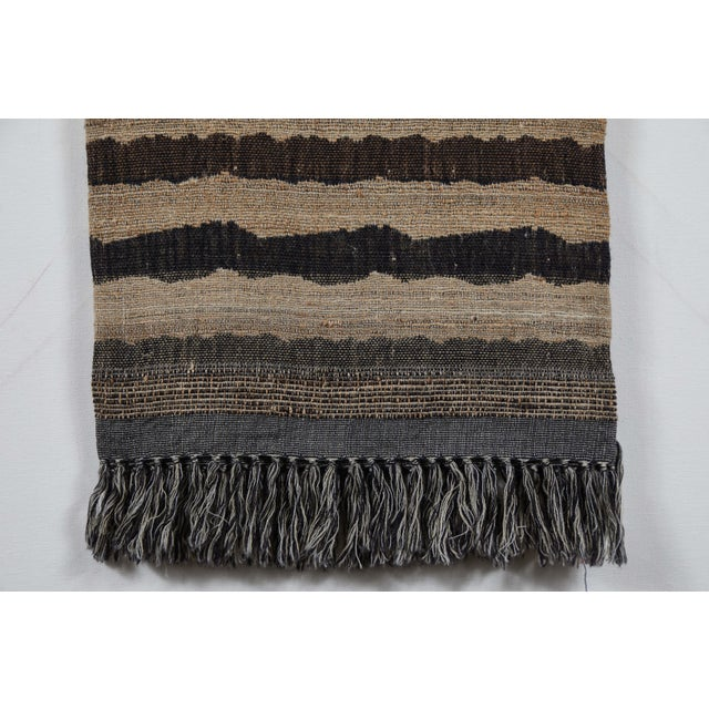 Contemporary Indian Handwoven Throw Ocean Stripe For Sale - Image 3 of 6