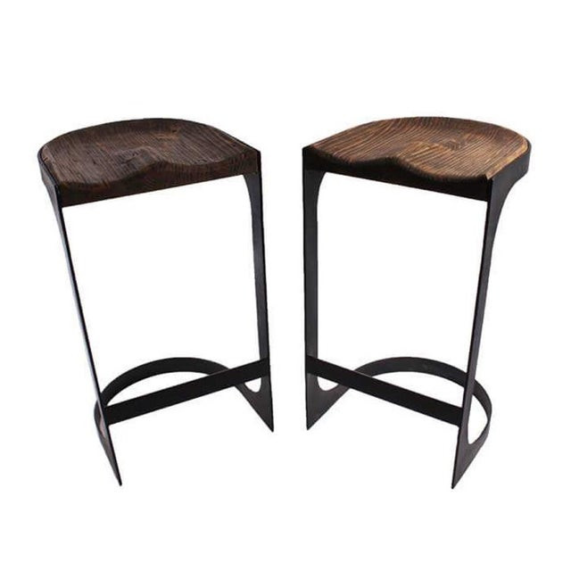 Rustic Wood and Iron Bar Stools - A Pair - Image 2 of 4