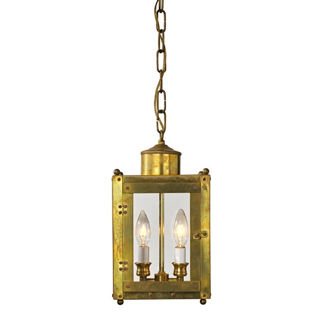 Late 20th Century Traditional Brass and Glass Two Light Lantern For Sale - Image 13 of 13