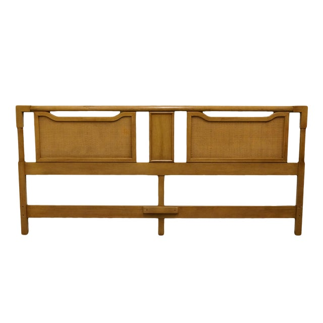 Mid-Century Modern King Size Panel Headboard With Cane-Like Detail For Sale