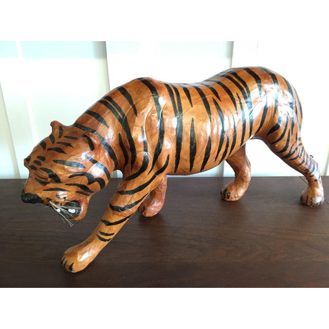 Figurative Vintage Leather Tiger For Sale - Image 3 of 8
