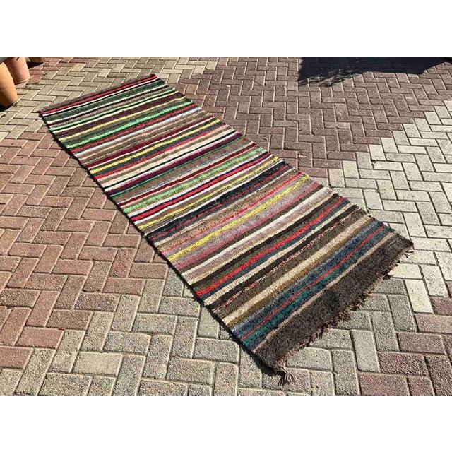 Vintage Striped Turkish Kilim Rug For Sale - Image 10 of 10