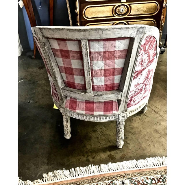 Louis XVI 18th c. French Painted Bergere in Early 19th Century Toile For Sale - Image 4 of 6