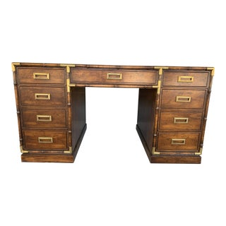 1970's Vintage Mt Airy Faux Bamboo Campaign Style Executive Desk For Sale