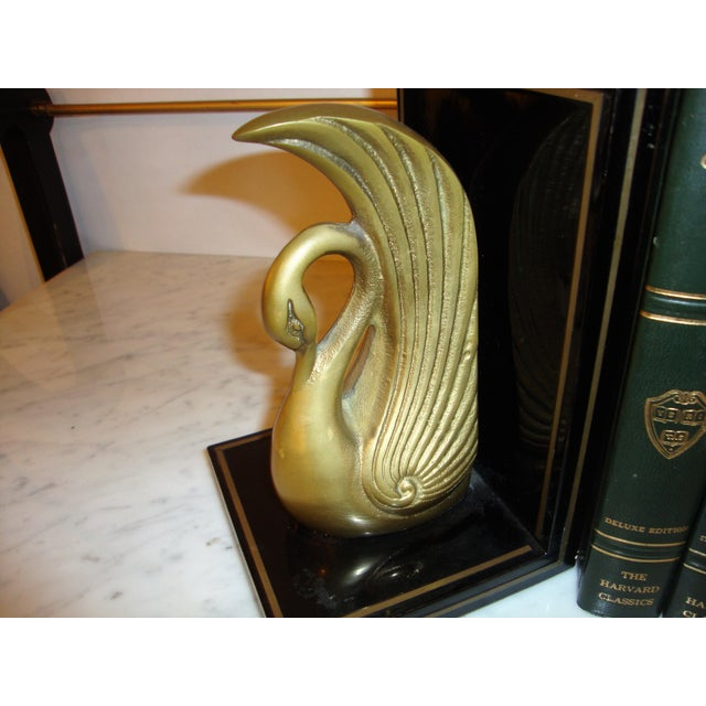 Metal Art Deco Swan Book Ends - A Pair For Sale - Image 4 of 7