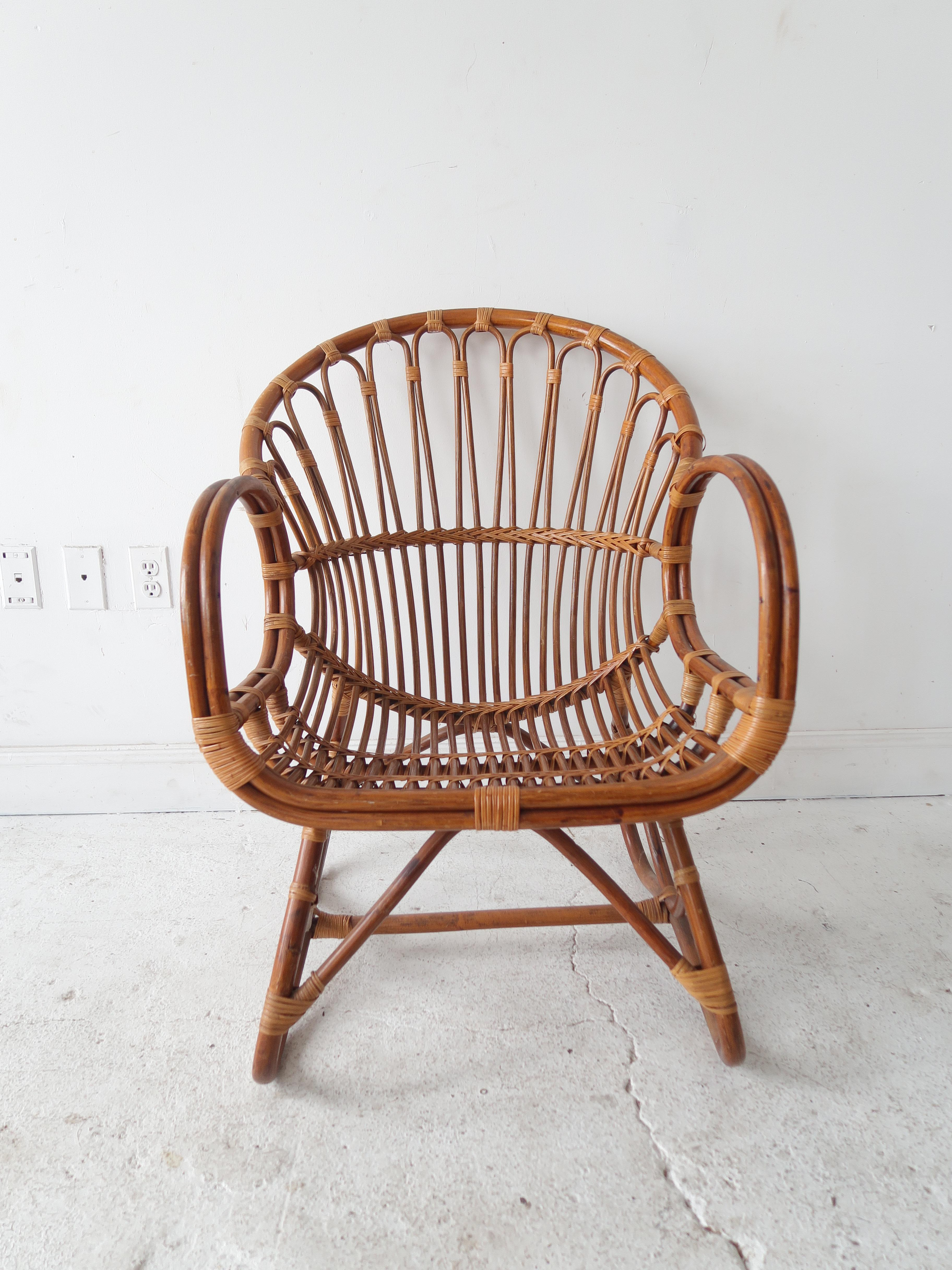 Attractive Vintage Mid Century Modern Rattan And Bamboo Chair   2 In Stock   Image 4 Of