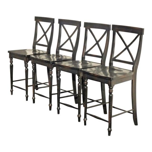 Black Modern Wood Bar Stools - Set of 4 - Image 1 of 11