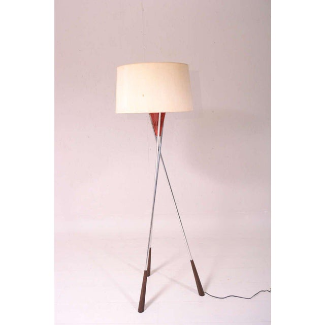 For your consideration a tripod floor lamp constructed with aluminum base, walnut wood base and aluminum shade painted in...