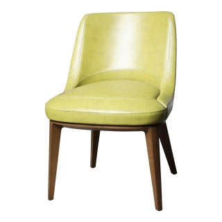 Mid-Century Modern Cumberland Clover Green Upholstered Maple Base Guest Chair For Sale