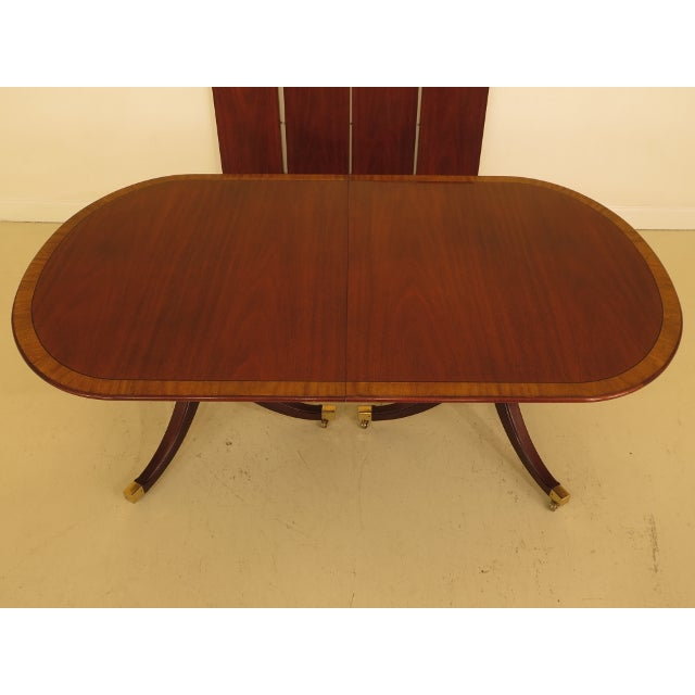 Item: L44786EC: KINDEL Banded Border Duncan Phyfe Mahogany Dining Table Age: Approx: 20 Years Old Details: Mahogany High...
