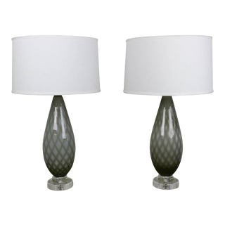 Grey and White Murano Table Lamps - a Pair For Sale