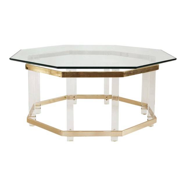 1960s Art Deco Charles Hollis Jones Brass and Lucite Octagonal Coffee Table For Sale