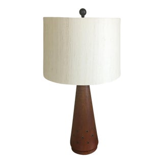 1960s Teak Table Lamp With Brass Insets For Sale
