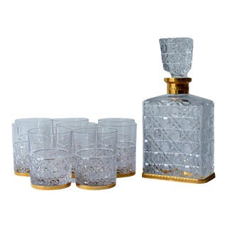 Baccarat Whiskey Set with Decanter and Glasses - Set of 9 For Sale