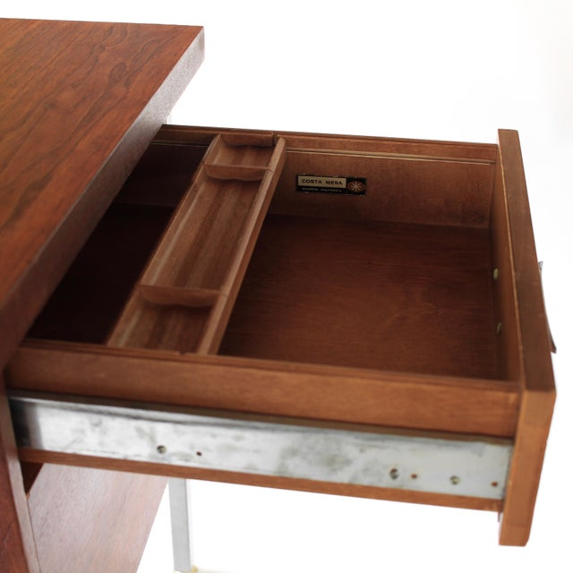 1950s Mid Century Modern Florence Knoll Style Walnut and Cane Desk For Sale - Image 10 of 13