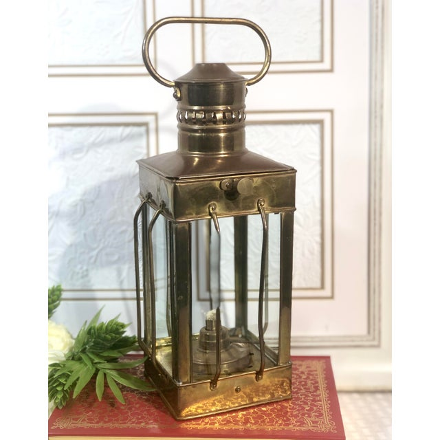 Late 20th Century Vintage Nautical Marine Solid Brass Lantern Oil Lamp For Sale - Image 5 of 12