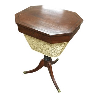 Antique 19th C. Sheraton Sewing Table With Basket