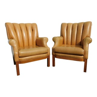 1970s Americana Camel Colored Vinyl Channel Chairs - a Pair