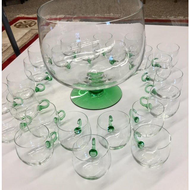 Hollywood Regency Mid Century Modern Hand Blown Glass Punch Set - 25 Pieces For Sale - Image 3 of 13