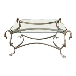 1950s French Hollywood Regency Cast Iron Swan Coffee Table