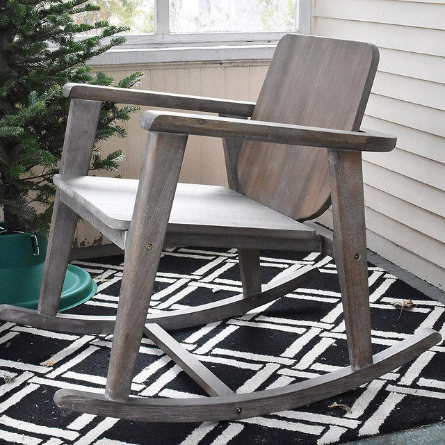This chair rocks. Outdoor safe, cover or store indoors during inclement weather when not in use. One of the chairs has...