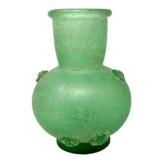 1970s Murano Seguso Vetri d'Arte Lime Green Glass 'A Scavo' Vase For Sale