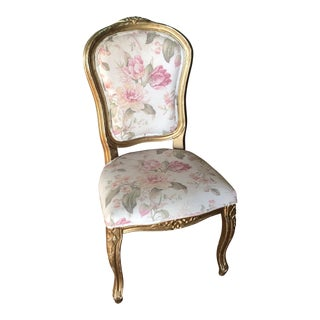 Antique Rococo Pink Roses Accent Chair