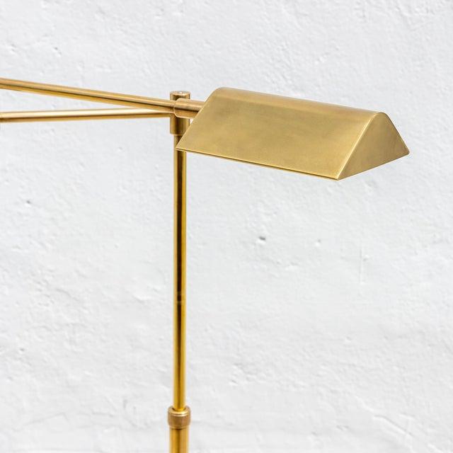 Mid-Century Modern Vintage Brushed Brass Pharmacy Floor Lamp For Sale - Image 3 of 8