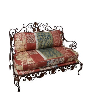Ornate Wrought Iron Rococo Style Settee With Cushions For Sale