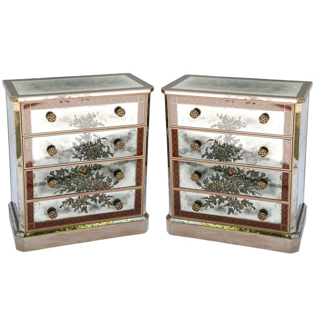 1940s Églomisé Mirrored Chest of Drawers - a Pair For Sale