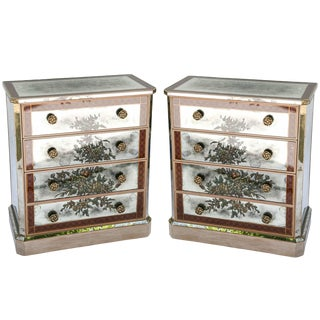 Pair of Églomisé Mirrored Chest of Drawers, Circa 1940s. For Sale