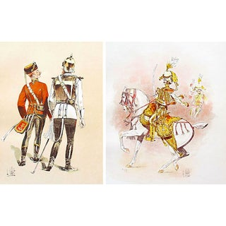 Colourful European Cavalry Prints, 1893 - A Pair For Sale