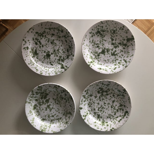 "Set of four (4) Penny Morrison Green Speckled Ceramic Plates Large (27 cm; about 10.6""); main course size Dishwasher safe;..."