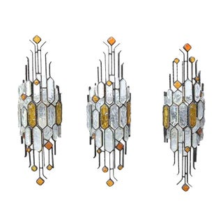1970s Brutalist Wrought Iron and Multi Colored Glass Sconces by Longobard - Set of 3 For Sale